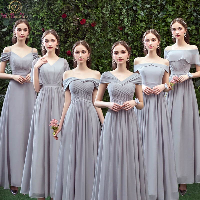 Gray Simple   Bridesmaid     Dresses   2019 Chiffon Short Sleeve Kinds of Style Floor Length Elegant Robe Femme Formal Gowns In Wedding