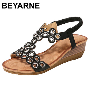 Image 1 - BEYARNE2019Women Ladies Crystal Casual Wedges Elastic Band Bohemian Beach Sexy High Quality Outsid Ladies Crystal ShoesE626
