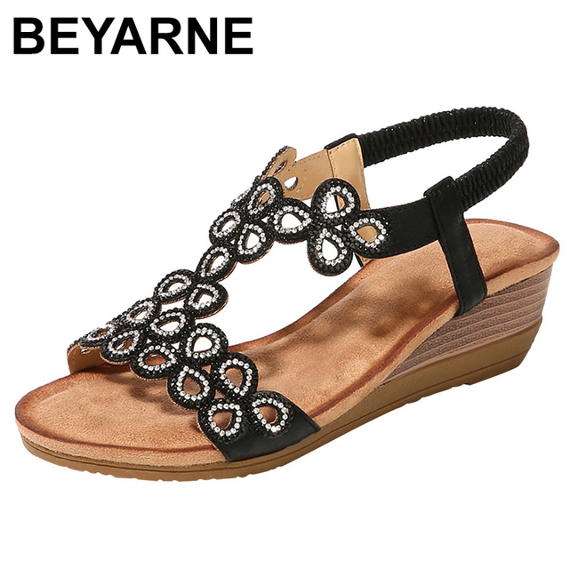 BEYARNE2019Women Ladies Crystal Casual Wedges Elastic Band Bohemian Beach Sexy High Quality Outsid Ladies Crystal ShoesE626