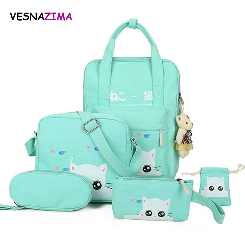 Women Backpack Cat Printing Canvas School Bag For Teenager Girls Preppy 5 PC/Set Rucksack Cute Book Bag Mochila Feminina WM487Z vintage casual small women printing backpack ladies casual preppy style school bag teenager girls female travel rucksack mochila