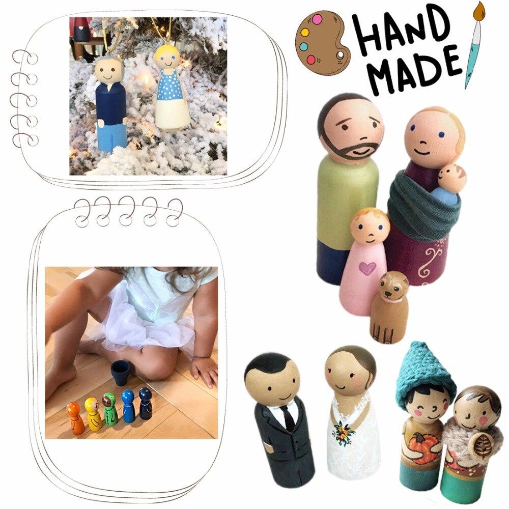 Bopoobo 50pcs Wood Teether Wooden Peg Dolls Maple Unpainted Kids Pg Dolls Handmade Unfinished Dolls Decor Dolls Toys Set