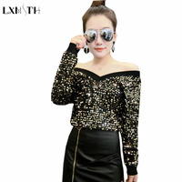 2018 Spring Female T shirt Long Sleeve V Neck Sexy Fashion Sequined T shirts for Women Luxury Cute Tunic clothes Sliver Golden