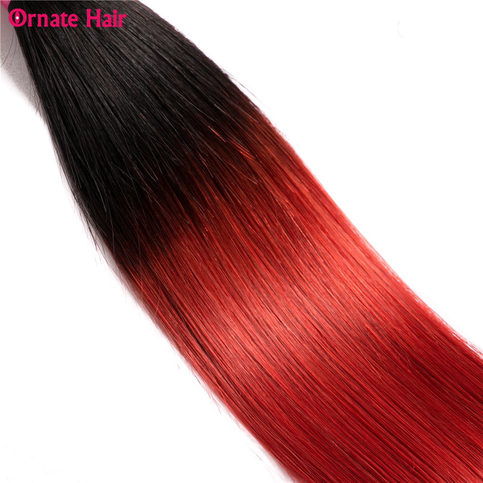 3 Bundles With Closure T1B/Red Ombre Straight Hair Bundles With Closure Brazilian Hair Weave Bundles Human Hair Non Remy