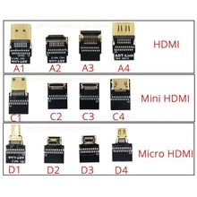 Mini-HDMI to HDMI Cable -10cm 20cm 30cm 50cm 1/2 /3 Feet 4Kx2K@60Hz hdmi Mini Micro Converter Cabo Up Down Right Left Angle