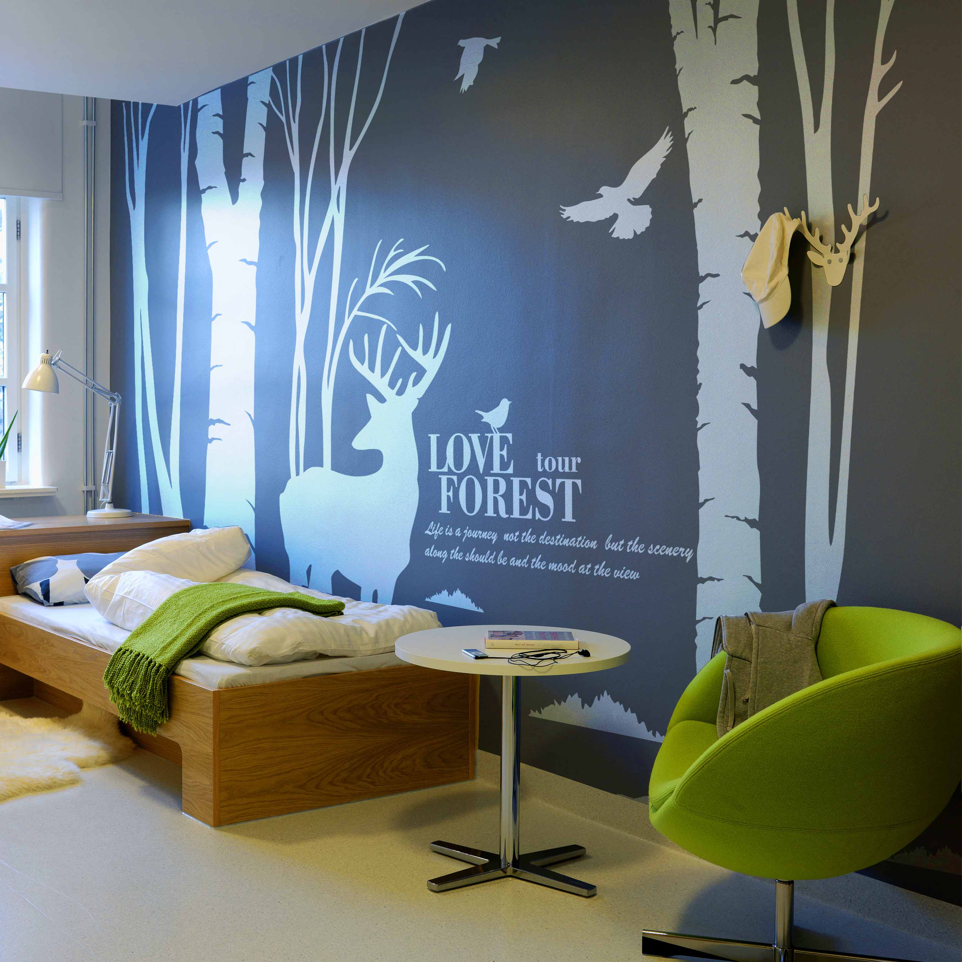 Landscape Large Buck Birds Tree Forest Wall Stickers, Buck Wall Decals Home Decor Decoration Wts010