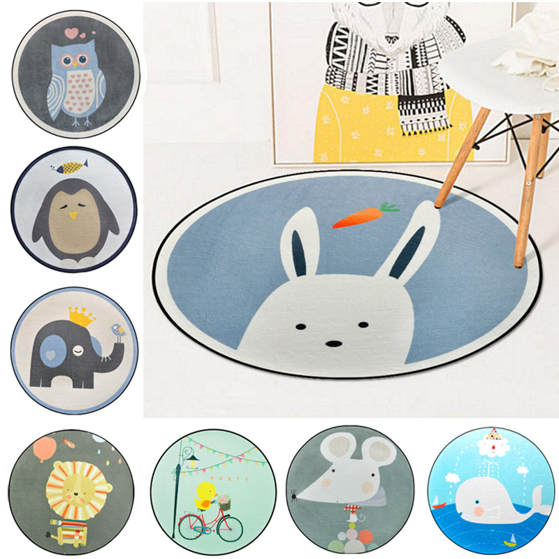 Cartoon Animal Kids Room Play Tents Carpet Owl/Cat/Baby Bedroom Anti-skid Crawling Carpets Living Room Coffee Table Floor Mats
