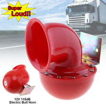 12V 115dB Red Electric Raging Bull Car Air Horn Styling Part Super Loud Loudspeaker for Truck Motorcycle SUV Vehicle