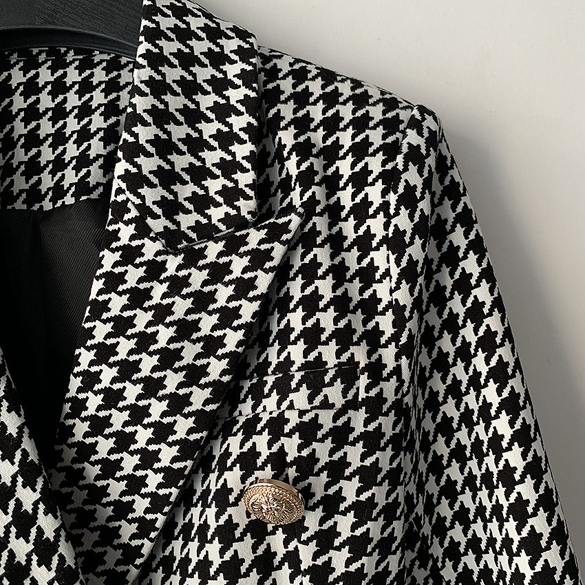 2019 Spring Autumn Plaid Women's Blazer Double Breasted Long Sleeve Slim Office Blazer Woman Houndstooth Blazer Jacket Female