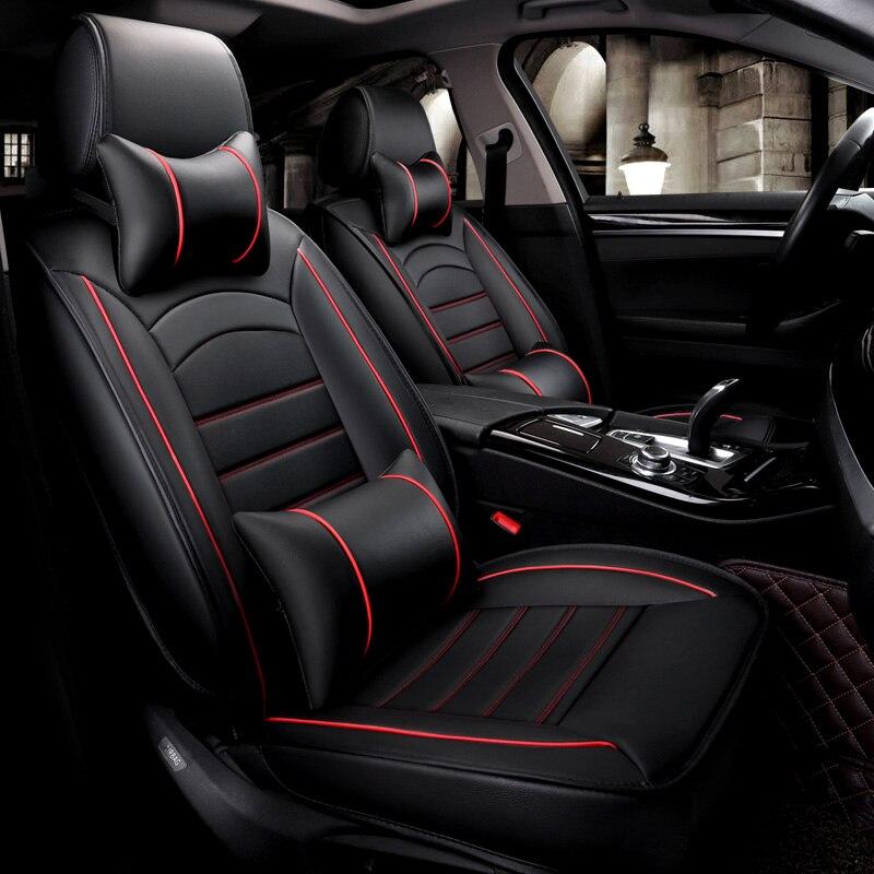 5 assentos/set assentos de carro de couro pu à prova d' água covers protector universal para mazda3 vw toyota almofadas auto acessórios interiores - 4