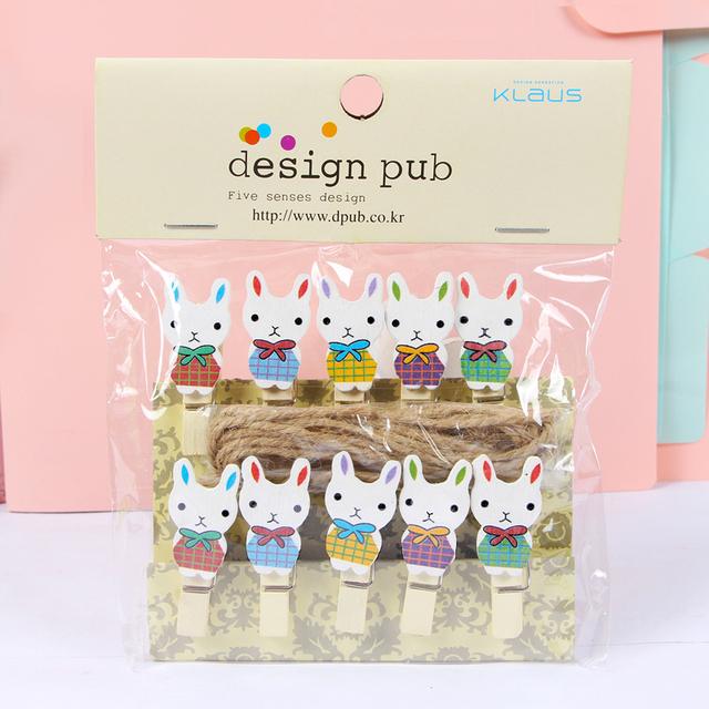 10pcs Pack Creative Diy Bunny Shaped Wooden Photo Clip Birthday