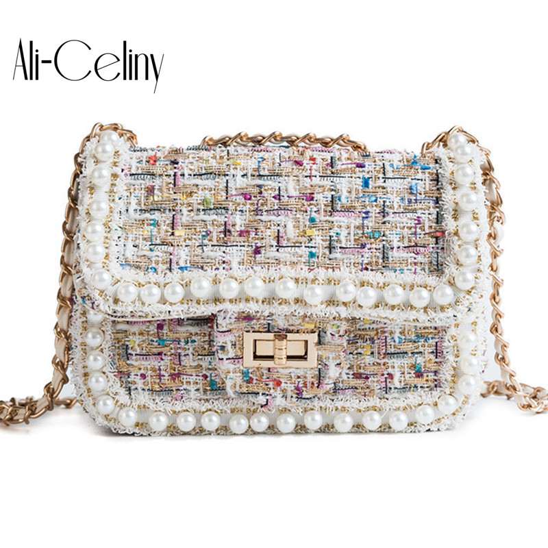 Fashion elegant woolen bag women plaid pearl messenger bag chain purse shoulder bag ladies handbag mini flap цена 2017