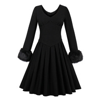 Sisjuly Autumn Black Full Sleeve Vintage Dress Knee Length Party Dress O Neck Fall Zipper Pleated