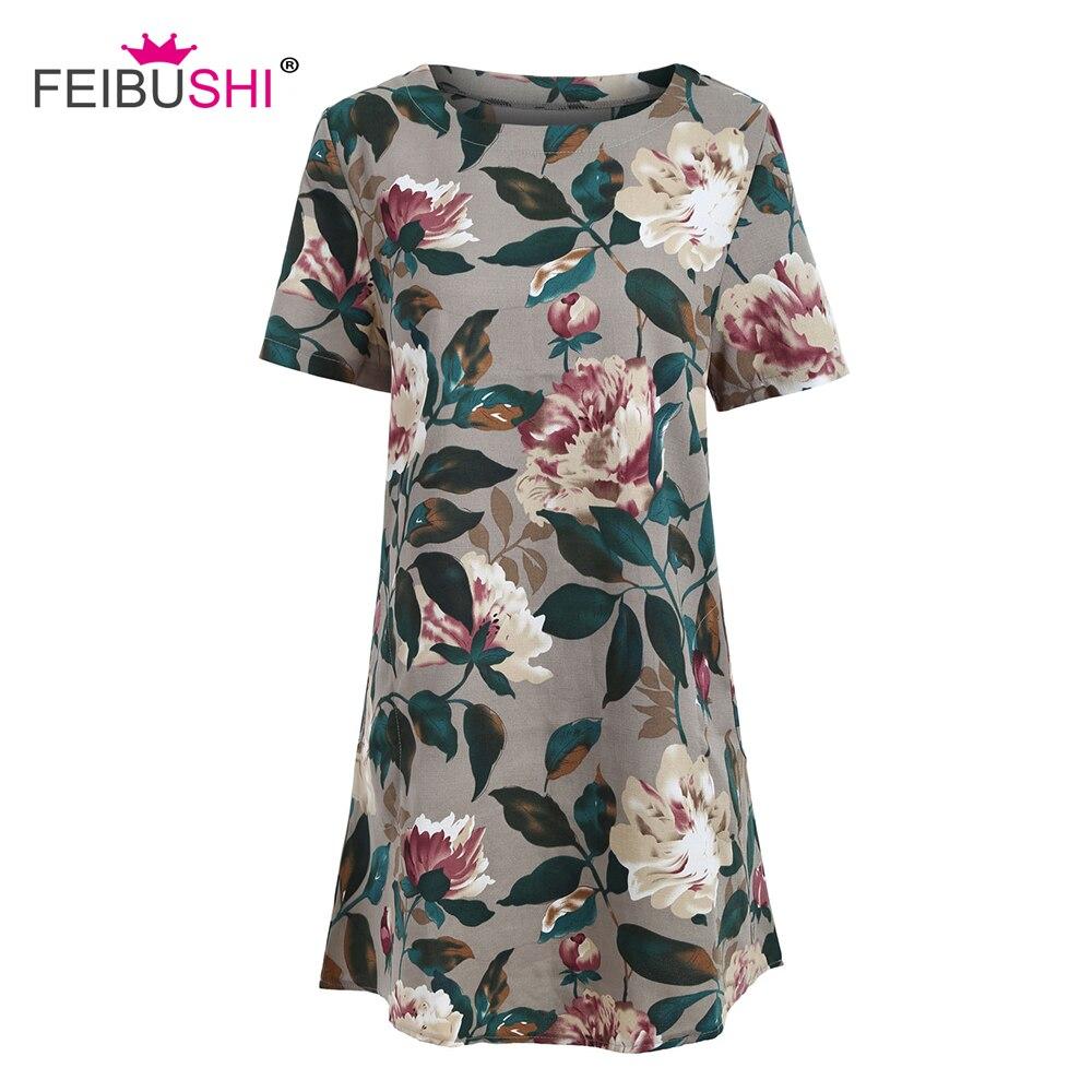 FEIBUSHI Vintage Dress 50s Women Embroidered Pessant Hippie Blouse ...