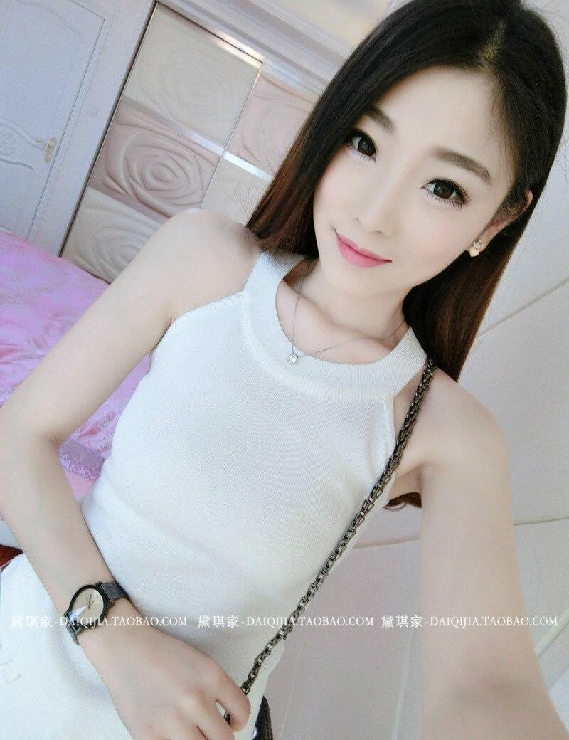 7c38edb903d6 2017 primavera verano sexy mujeres Coreanas chaleco del tanque de punto  femenino colgante sin mangas de cuello camisa de imprimación Delgada camisa  salvaje ...