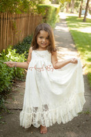 Rustic Soft Lace Flower Girl Dresses for beach country Wedding and party boho style A Line first communion dresses