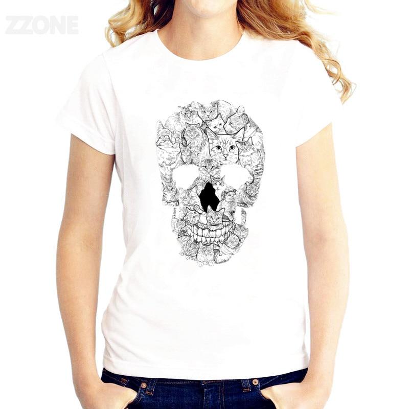 Flower Skull T-shirt Women TShirt Short Sleeve T-shirts O-Neck Tops Fashion Printed Good Quality Tee Shirts HWP103