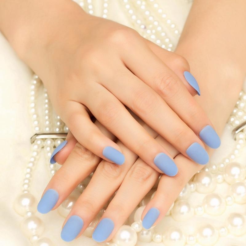 Ecbasket Acrylic Nail Tips Natural Fake Nails Short Oval: Sky Blue Matte Artificial Nails Short Daily Wear Fake Nail