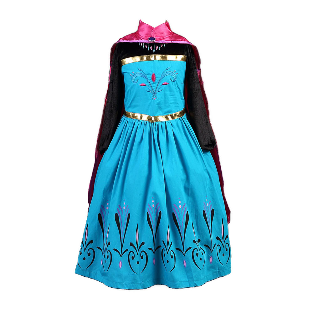 New Style Elsa Anna Little Baby Girls Embroidered Full Party Dresses Child Girl Kids Formal Cosplay Role Play Cape Cloak Dress|dresses for large ladies|dresses partiesdress polyester - AliExpress