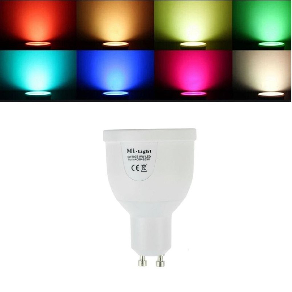 Mi light WIFI GU10 1.6million color change dimmable 2.4G led spot lamp AC85-265V 5W RGBW LED Bulb control by Iphone Ipad Android change translated by howard goldblatt