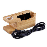 KINCO 2 In 1 3 Port USB Charger Natural Bamboo Wood Universal Charging Charging Dock Stand