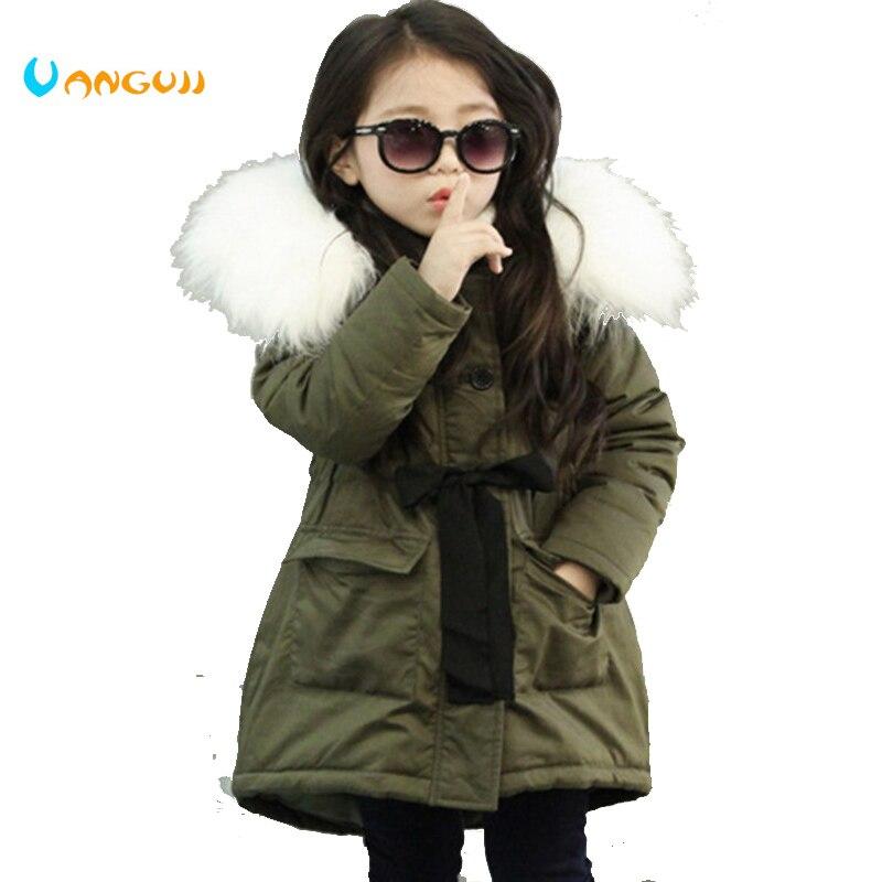 Marca coreana niñas Chaquetas niños de cuello de piel de abrigo de invierno de los niños Outwear 3-11 años 1 semana en por bajo precio