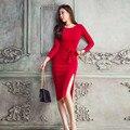 Mulheres de alta qualidade Bodycon vestido Primavera summer Fashion vermelho preto womens casual Elegante Escritório Vestido das mulheres do Partido