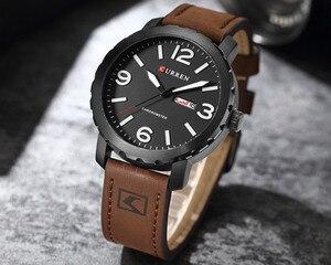 Image 3 - עסק פשוט אופנה גברים שעוני יוקרה מותג CURREN זכר שעון לוח רצועת עור שעוני יד Relogio Masculino Hodinky