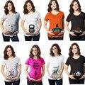 2017 Nuevo verano Divertido patrón estilo de la moda de algodón mujeres embarazadas de La Camiseta de maternidad ropa de tamaño grande al por menor 1 unids