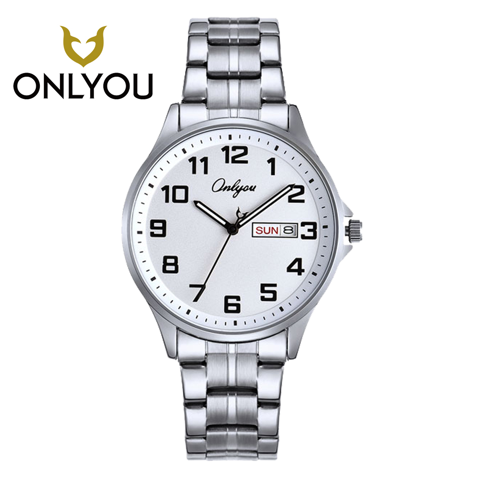 ONLYOU Men Business Stainless Steel Math Watch Casual Women Luxury Gold and Silver Band lovers Watches