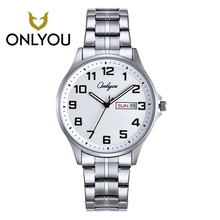 ONLYOU Men Business Stainless Steel Math Watch Casual Women Luxury Gold and Silver Band lovers Watches Week Displays Clock Girl