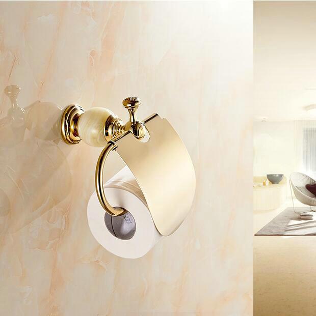 2 Colors Golden Bathroom Accessories Luxury Jade Gold Brass Toilet Paper Holders Waterproof Tissue Bathroom Sanitary 6251