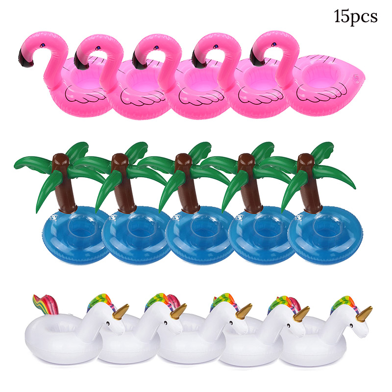 15pc Hawaii Luau Party Unicorn/Coconut/Flamingos Plastic Drink Cups Inflatable Pool Float Cup Holder Summer Beach Party Supplies
