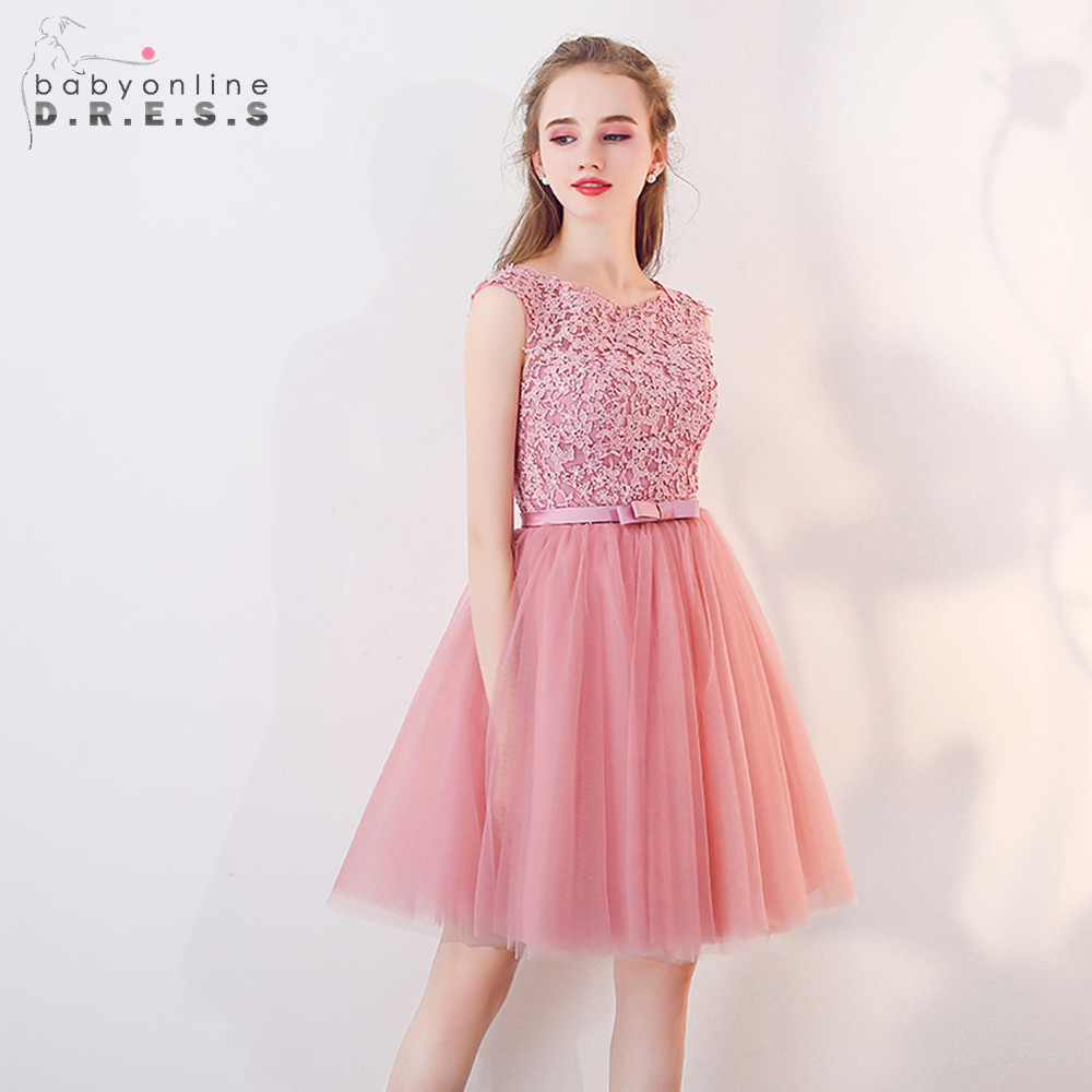 2019 New Appliques Pink Lace Mini   Dresses   Wedding   Bridesmaid     Dresses   Tulle Wedding Short Sleeve Party   Dresses   Long Prom Gown