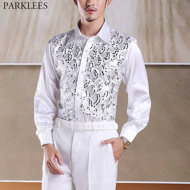 70daaf8c Men's Shiny Sequin Glitter White Dress Shirts 2019 New Fashion Long Sleeve  Button Down 70s Disco