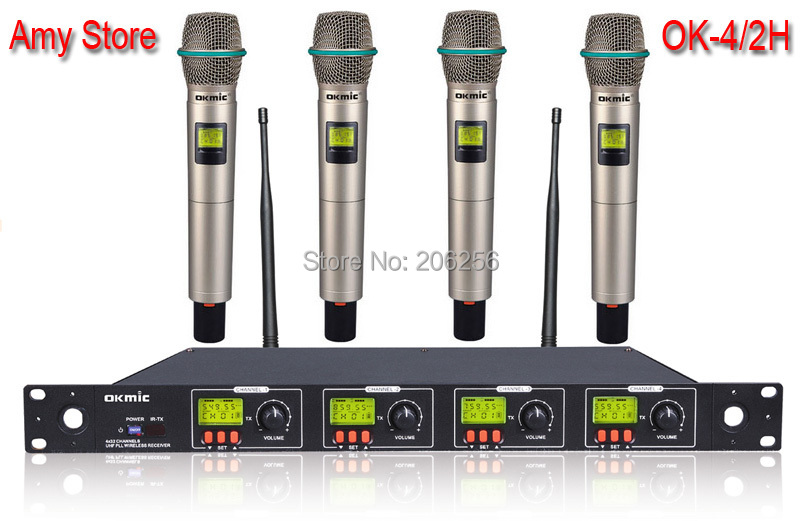 Cheap high quality OK 4 2H professional UHF PLL four channels wireless microphone system 4 channels