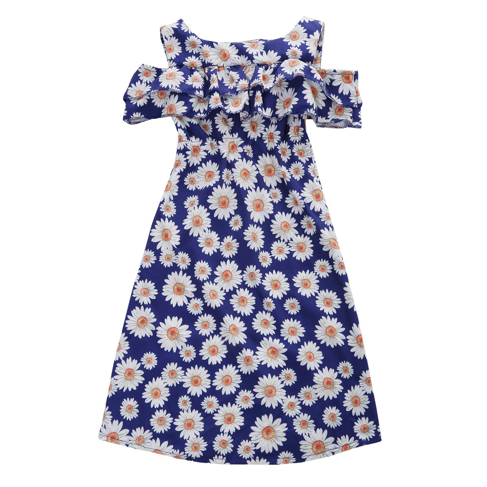 Blue Color Hot Cute Kids Baby Girls Flower Print Fold Sleevesless Princess Dresses Outfits High Quality Dropshipping AG30 14