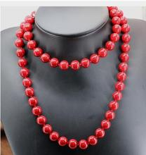 a 10mm high quality red artificial coral round beads necklace for women long chain AAA+ Handmade Silver Jewelry