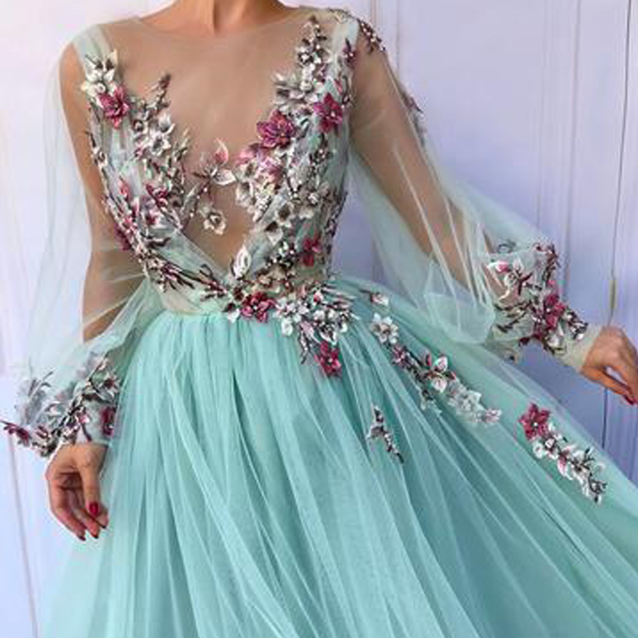 Chic A-line Scoop Neckline With Floral Long Prom   Dress     Evening     Dresses   Long Sleeves See Through 3D Flowers Prom Gowns