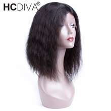 Short Bob Wigs Yaki Straight Indian Non-Remy Human Hair Wigs Density 150% Pre Plucked Lace Frontal Wig HCDIVA Hair