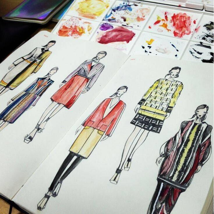 Line Composition In Fashion Designing : A fashion designer notebook marker sketchbook dotted line