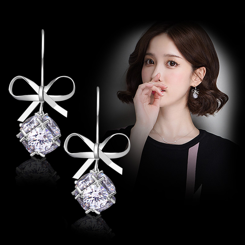 2018 New Fashion women elegant sweet Bow earrings with Cubic Zirconia simple  small drop fine jewelry dangle earrings Brincos f21f038284d1