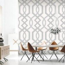 Papel tapiz geométrico clásico enrejado de cuarzo blanco, papel de vinilo pesado metálico para decoración de pared, marrón