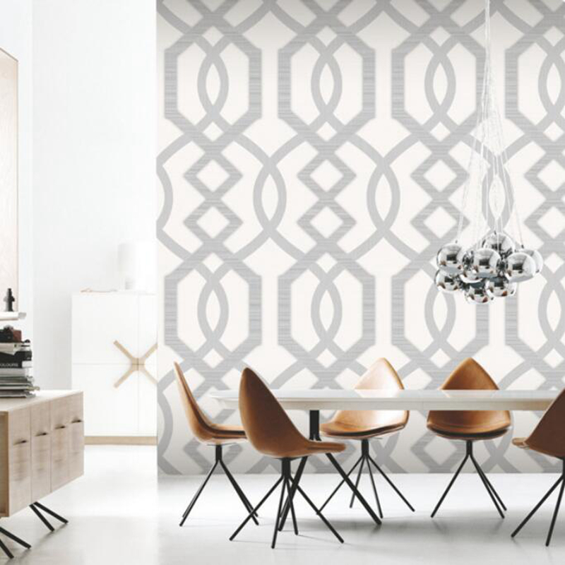 Stylish Quartz Trellis Classic Geometric Wallpaper Glitter Heavyweight Vinyl Paper for Wall Decor, White, Brown цена
