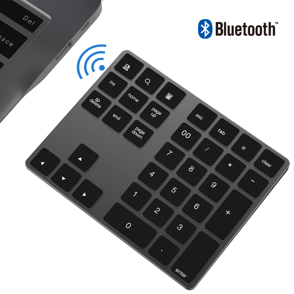 Mini Keypads Aluminum Wireless Numeric Keypad BT Pad 34 Keys External Number Keyboard Shortcut BT Wireless Keyboard(China)