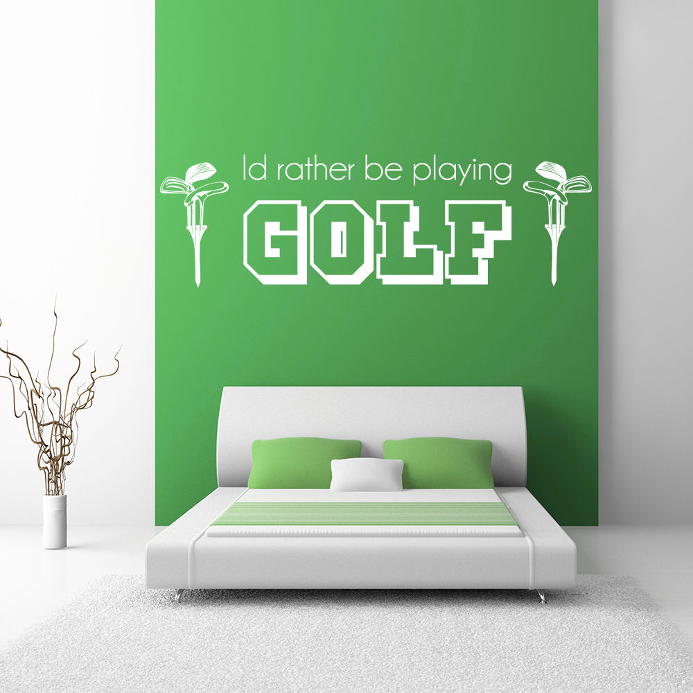 Id Rather Be Playing Golf Sports Quotes Wall Sticker Home Art Decals Decor