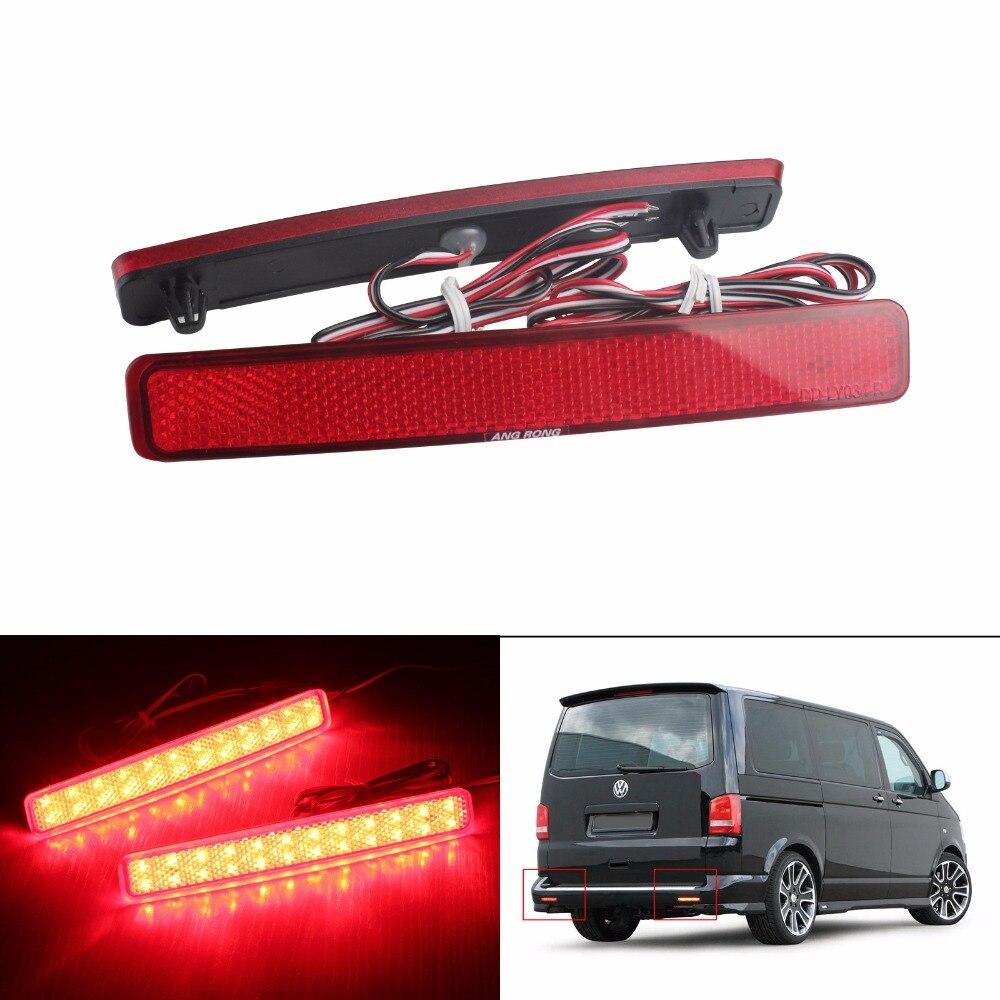 2x For VW T5 Transporter / Caravelle / Multivan 2003-11 Red Rear Bumper Reflector LED Tail Stop Brake Light (CA243) pai transporter t4 caravelle smoked red tail rear light lamp for vw left