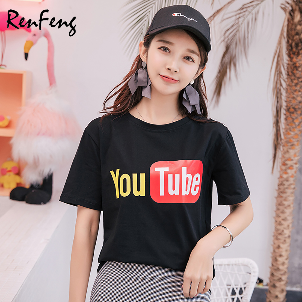 881aa96ac111b 2018 Summer Harajuku Short Sleeves Woman basic Vintage tee Youtube logo  Print T shirt Female Clothes Youth Women's plain t shirt-in T-Shirts from  Women's ...
