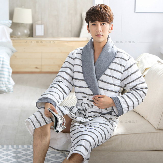 bcd90d0e47 Brand New Winter Men s Nightgowns Warm Robes for Men Bath Robe Bathrobe  Bedroon Long Robe Spa