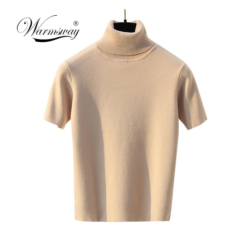 Sexy Knitted Top Tees Women Turtleneck Black Short Shirt Short Sleeve Slim Tops Tank Vintage Female 2019 B-129