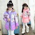 2016 Borboleta da menina do Algodão-acolchoado Roupas Jaquetas/casacos de Inverno Rússia Bebê Casacos Outerwears Grossas Crianças Casaco Quente jaquetas
